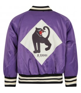 Purple kids bomber jacket with panther