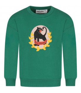 Green boy sweatshirt with panther and logo