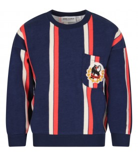 Blue, red and ivory boy sweatshirt with logo