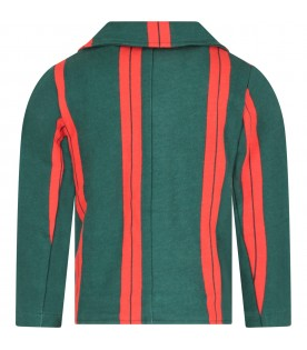 Green and red boy jacket with logo
