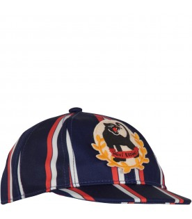 Blue, ivory and red boy hat with panther