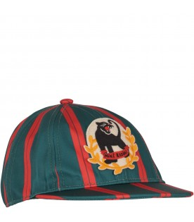 Green and red boy hat with panther