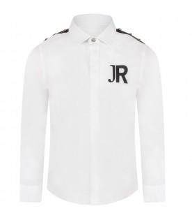 White boy shirt with logo and studs