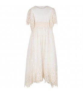 Ivory girl dress with macrame details