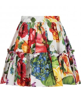 White skirt for girl with colorful flowers