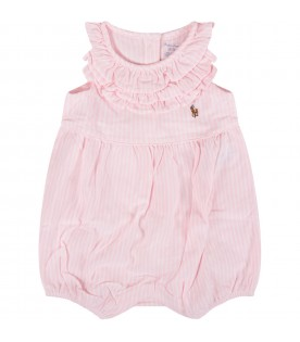 Pink and white babygirl rompers with iconic pony
