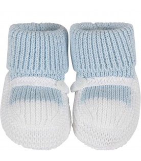 White and light blue babyboy baby bootee