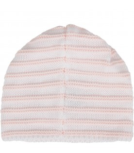 White and pink babygirl hat