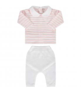 White and pink babygirl suit