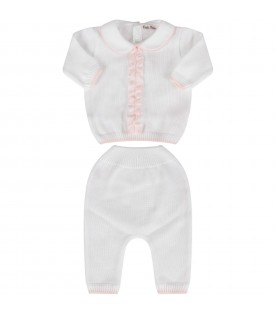 White babygirl suit with pink ruffle