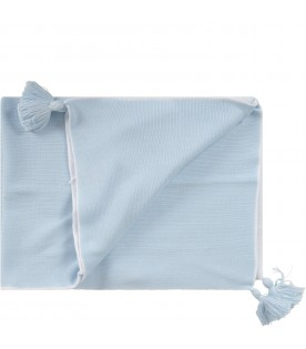 Light blue and white blanket for baby boy with tassels