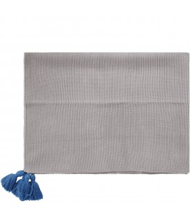 Grey blanket for baby kid with tassels
