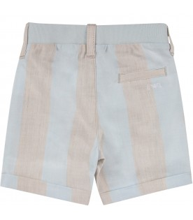 Light blue and beige short for baby boy with iconic logo