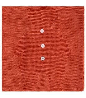 Orange  blanket for baby kid with bear