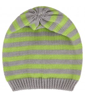 Grey and neon green babyboy hat