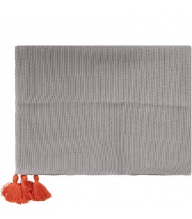 Grey babykids blanket with tassels