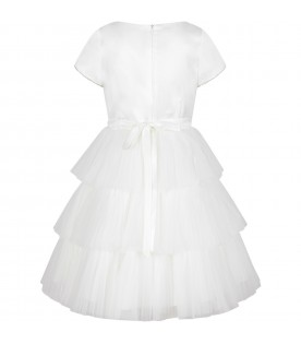 White dress for girl with rhinestones