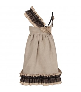 Beige girl dress with ruffles