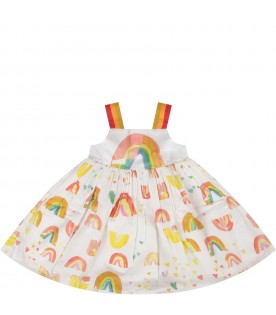 White dress with rainbow and hearts for baby girl