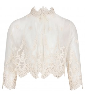 Ivory girl jacket with macrame details