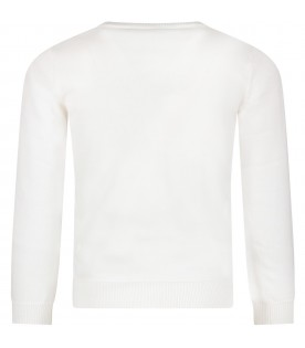 White cardigan with logo for girl