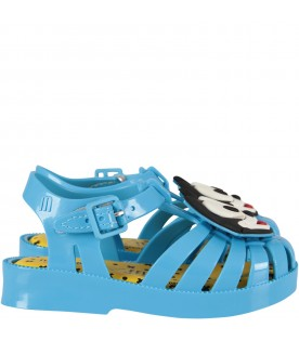 Light blue sandals with Felix for boy