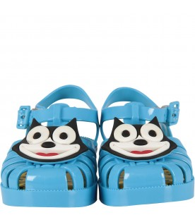 Light blue boy sandals with Felix