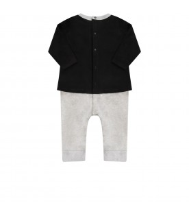 Black, grey and white babykids suit with bear