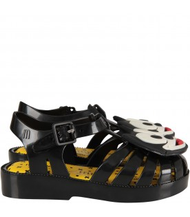 Black sandals with Felix for boy