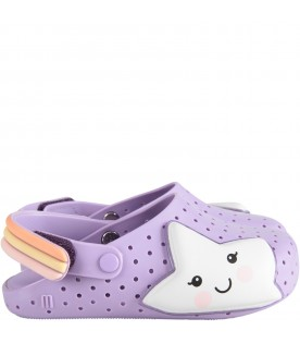 Lilac girl sandals with white star