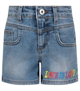 Light blue girl short with colorful writing