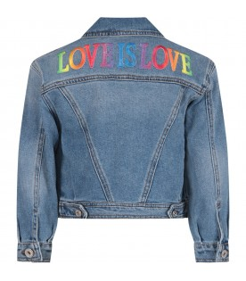 Denim girl jacket with colorful writing