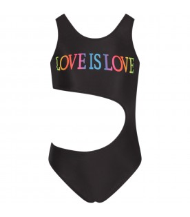 Black girl swimsuit with colorful writing