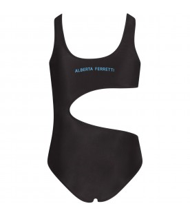 Black swimsuit for girl with colorful writing
