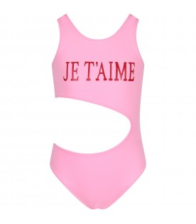 Pink girl swimsuit with red writing