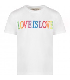 White T-shirt for girl with colorful writing