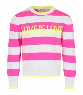 Neon fuchsia and white sweater for girl with noen yellow writing