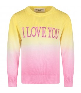 Yellow and pink girl sweater with pink writing