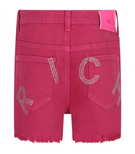 Fuchsia girl short with logo