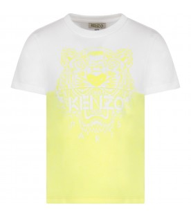 White and neon yellow kids T-shirt with iconic tiger