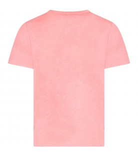Neon pink girl T-shirt with white logo