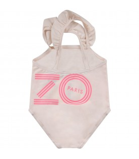 Pink babygirl swimsuit with logo