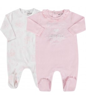 White and pink babygirl suit with iconic tiger