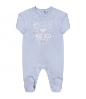 White and light blue babyboy suit with iconic tiger