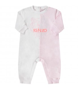White and pink babygirl babygrow with iconic tiger