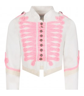 White girl jacket with pink details