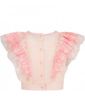 Pink girl blouse with neon fuchsia stars
