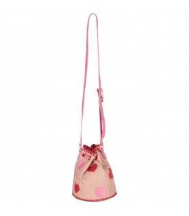 Pink girl buckt bag with hearts