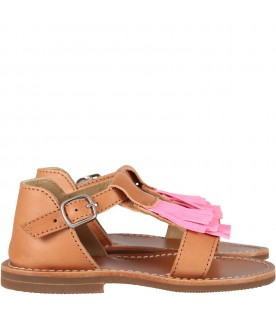 Brown girl sandals with fringes