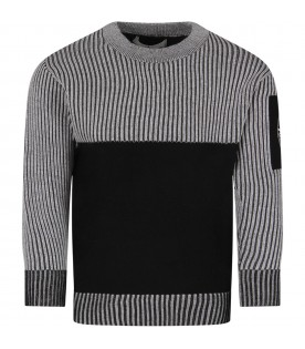 Black and grey  boy sweater with iconic compass